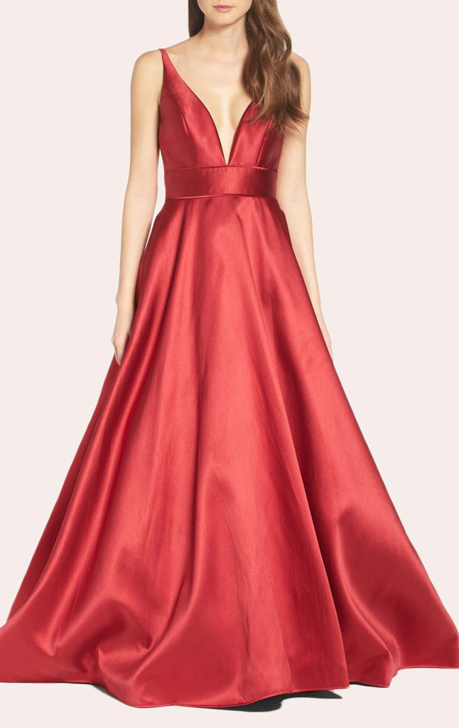 MACloth Straps V Neck Red Ball Gown Satin Prom Formal Gown