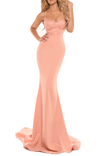 MACloth Mermaid Spaghetti Straps Lace Jersey Prom Gown Long Bridesmaid Dress