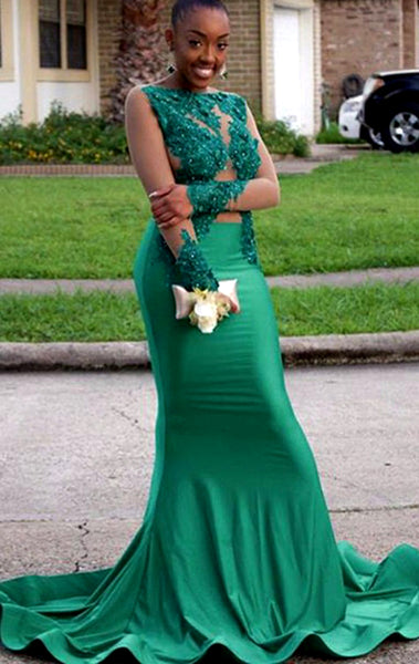 MACloth Mermaid Long Sleeves Lace Satin Prom Dress Green Formal Evening Gown