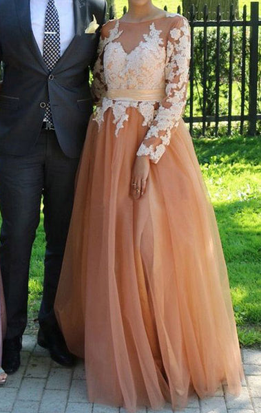 MACloth Long Sleeves Lace Tulle Peach Prom Dress Peach Formal Evening Gown 10795