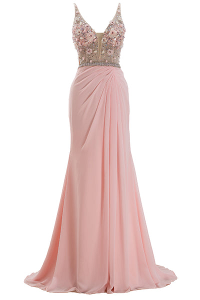 MACloth Straps V Neck Illusion Pink Long Prom Dress Formal Evening Gown