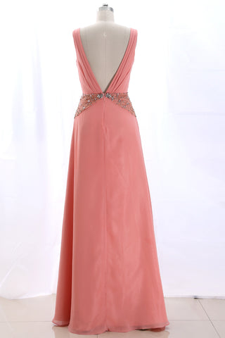 MACloth Straps V Neck Beaded Long Formal Evening Gown Peach Wedding Party Dress