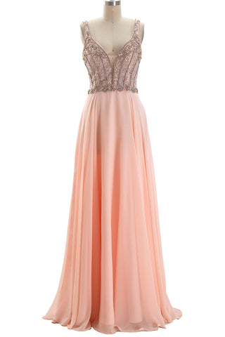MACloth Straps V Neck Beaded Long Chiffon Prom Dress Peach Formal Evening Gown