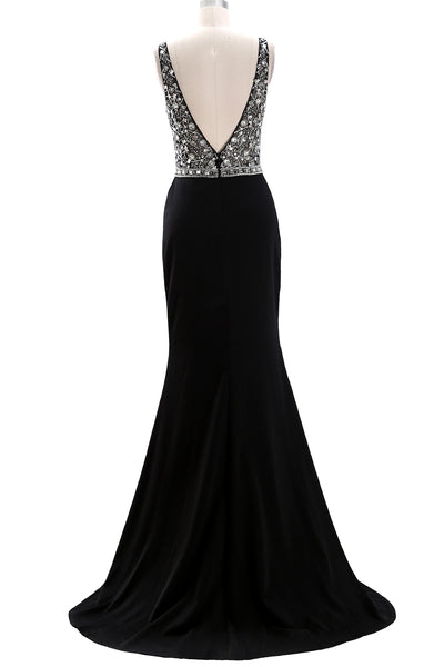 MACloth Deep V Neck Beaded Black Long Prom Dress Crepe Formal Evening Gown