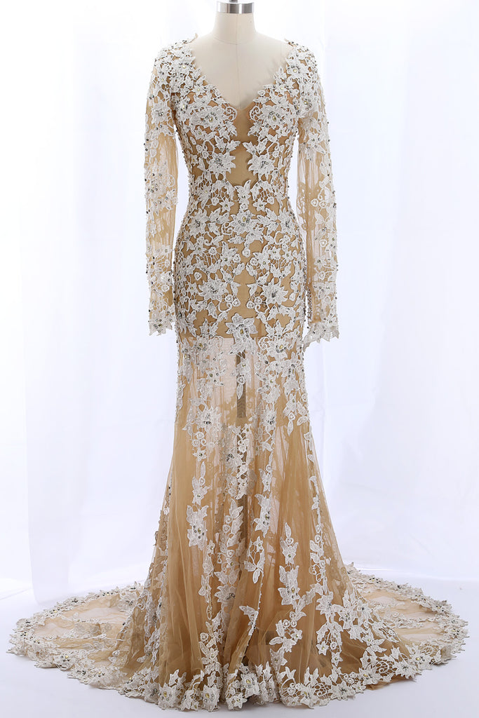 MACloth Long Sleeves Lace Mermaid Champagne Evening Formal Gown