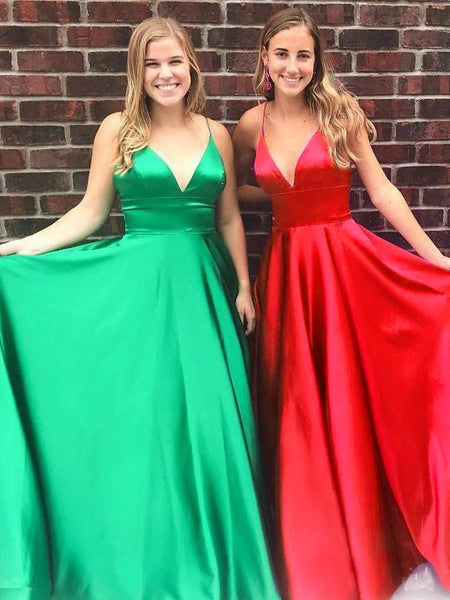 MACloth Straps V Neck Satin Long Prom Dress Burgundy Formal Evening Gown