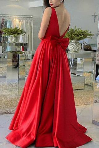 MACloth Straps O Neck Satin Maxi Prom Dress Red Formal Evening Gown with Bow