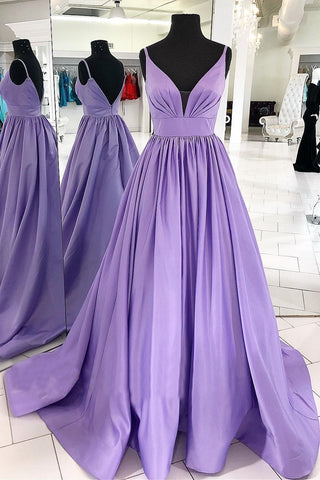 MACloth Straps V Neck Satin Maxi Prom Dress Lavender Formal Evening Gown