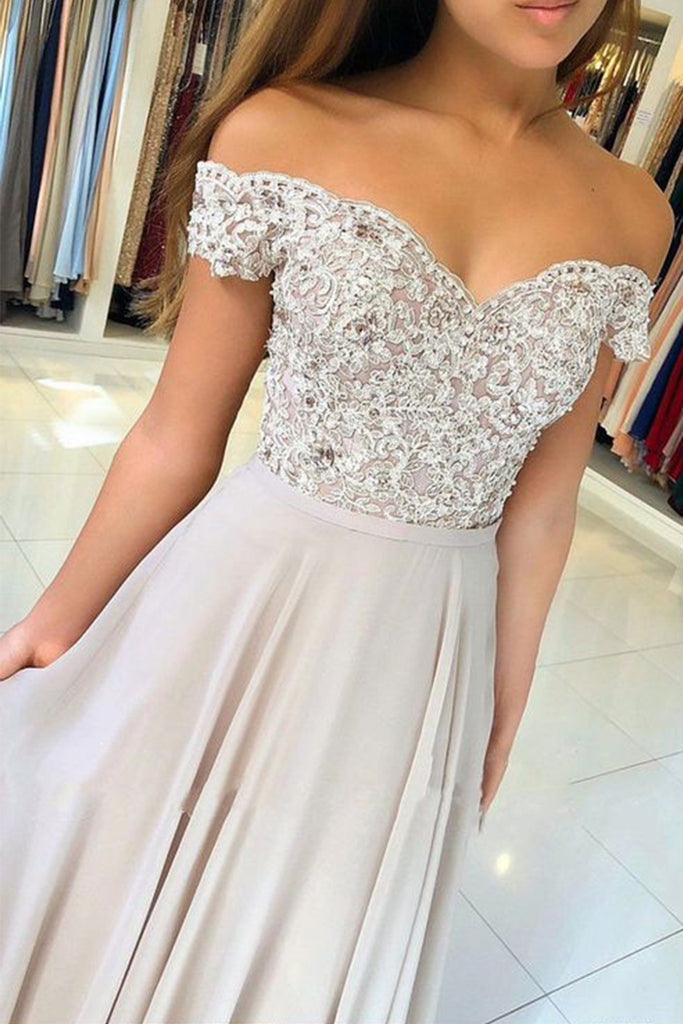 MACloth Off the Shoulder Lace Chiffon Light Silver Prom Dress Elegant Formal Evening Gown