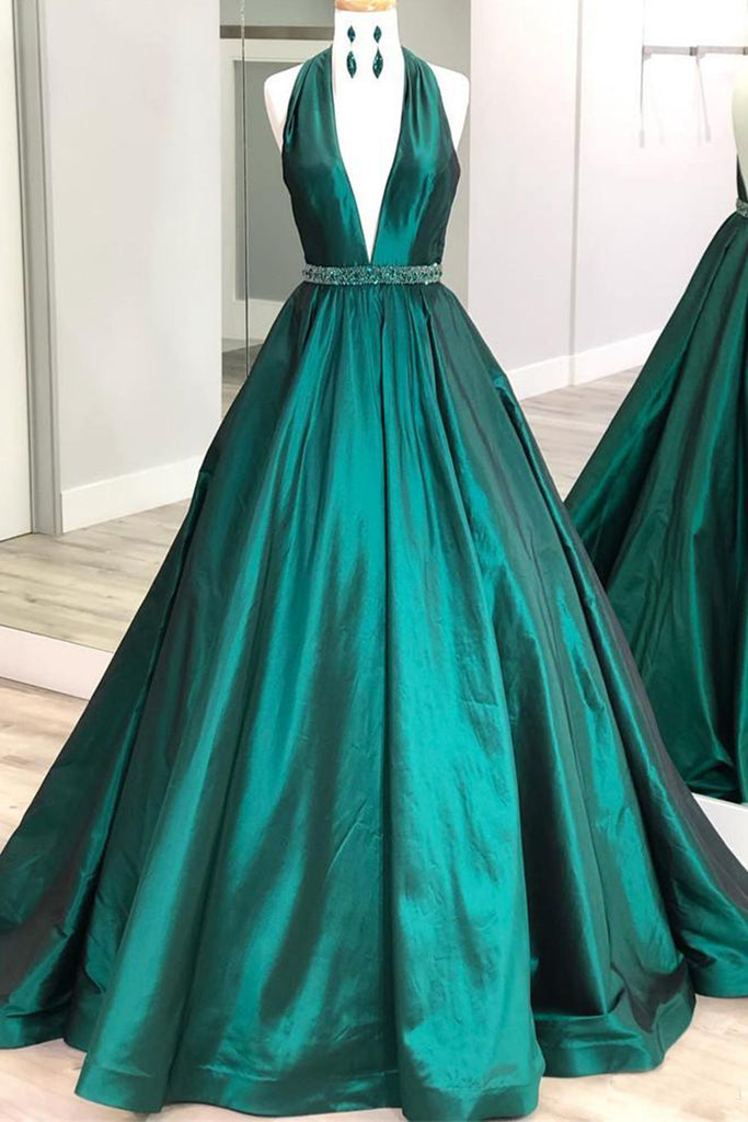 MACloth Halter V Neck Satin Long Prom Dress Dark Green Formal Evening Gown