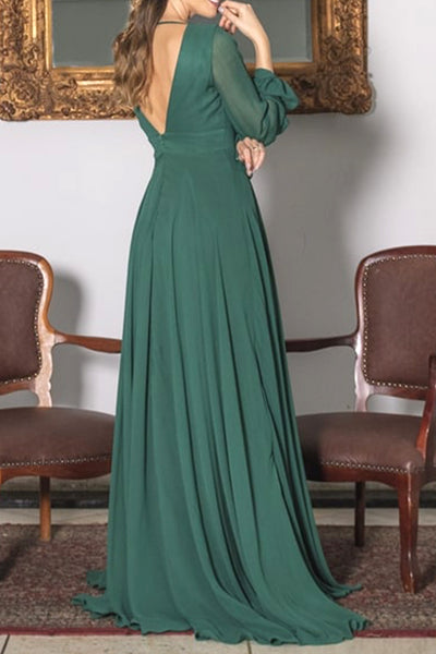 MACloth Long Sleeves V Neck Chiffon Evening Gown Dark Green Formal Dress