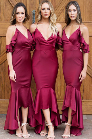 MACloth Spaghetti Straps V Neck High Low Burgundy Bridesmaid Dress Satin Formal Party Dress