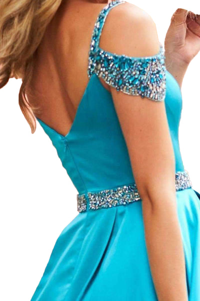 MACloth Straps V Neck Off the Shoulder with Beaded Long Prom Dress Blue Formal Evening Gown