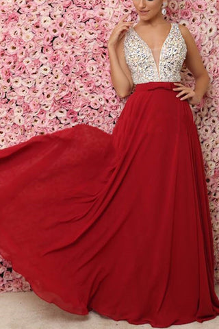 MACloth Straps V Neck with Beaded Chiffon Long Prom Dress Red Formal Evening Gown