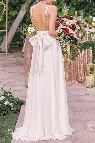 MACloth Straps V Neck Sequin Chiffon Long Prom Dress Ivory Formal Evening Gown