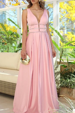 MACloth Straps V Neck Satin Long Prom Dress Pink Formal Evening Gown