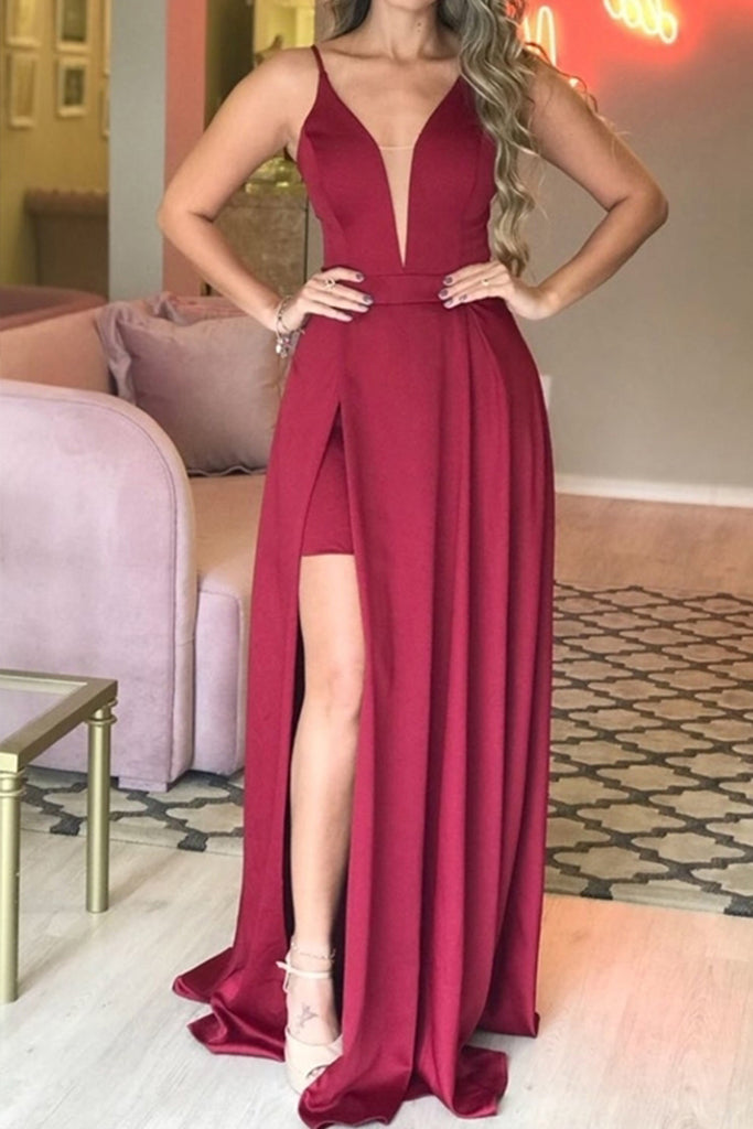MACloth Straps V Neck High Low Satin Burgundy Prom Dress Dark Navy Formal Evening Gown