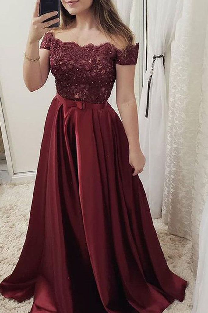 MACloth Off the Shoulder Lace Satin Burgundy Prom Dress Dusty Rose Formal Evening Gown