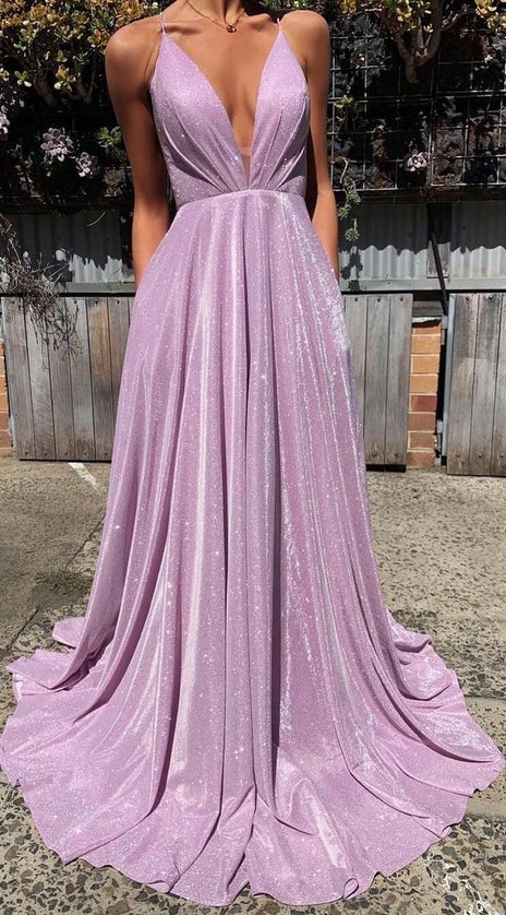 MACloth Straps V Neck Lavender Long Prom Dress Formal Evening Gown
