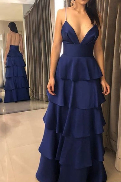 MACloth Spaghetti Straps V Neck Tiered Long Prom Dress Dark Navy Formal Evening Gown