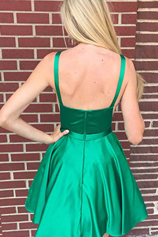 MACloth Straps Illusion V Neck Satin Mini Prom Homecoming Dress Green Cocktail Dress