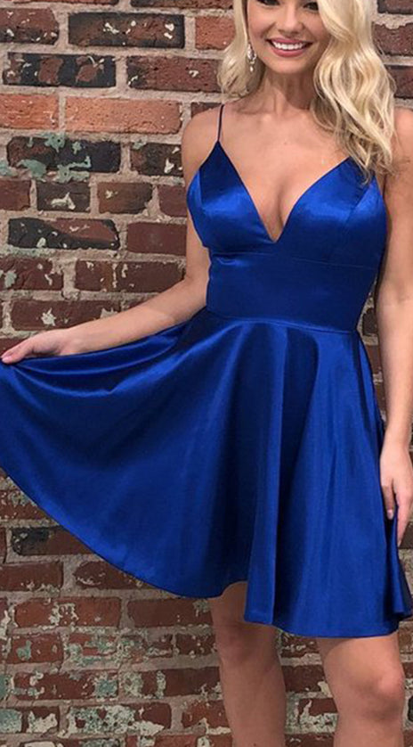 MACloth Spaghetti Straps V Neck Satin Chiffon Mini Prom Homecoming Dress Royal Blue Cocktail Dress