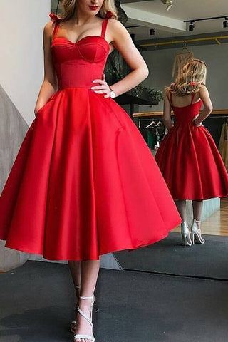MACloth Straps Sweetheart Midi Prom Homecoming Dress Red Formal Evening Gown