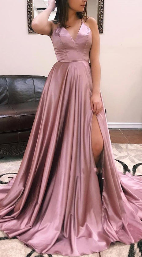MACloth Straps V Neck Dusty Rose Long Prom Dress Satin Chiffon Formal Evening Gown