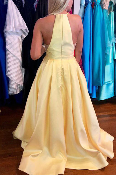 MACloth Halter Illusion V Neck Long Prom Dress Yellow Formal Evening Gown