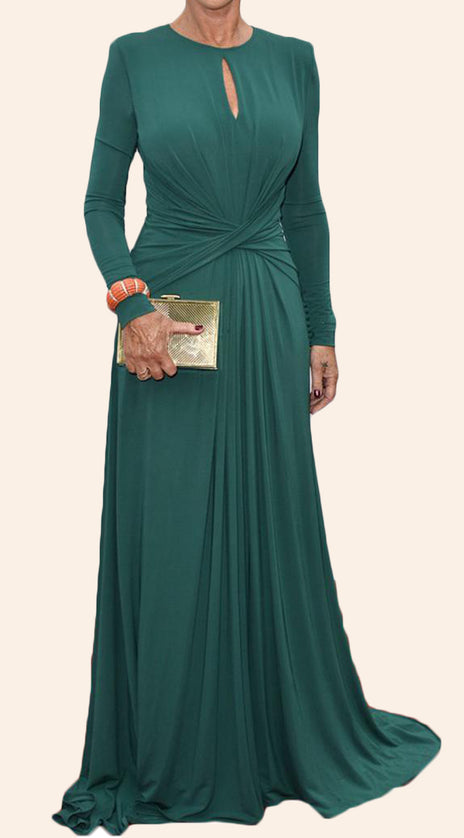 MACloth Long Sleeves O Neck Jersey Mother of the Brides Dress Teal Formal Evening Gown
