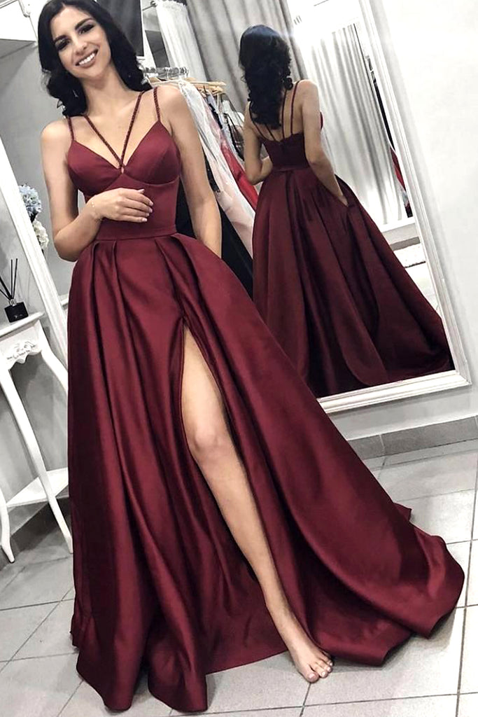 MACloth Straps V Neck Satin Long Prom Dress with Slit Burgundy Formal Evening Gown