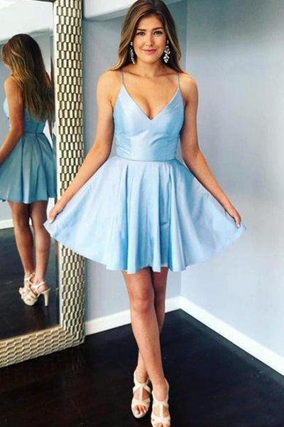 MACloth Straps V Neck Satin Mini Prom Homecoming Dress Sky Blue Cocktail Party Dress