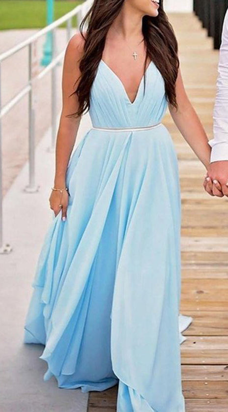 MACloth Straps V Neck Chiffon Long Prom Dress Sky Blue Formal Evening Gown