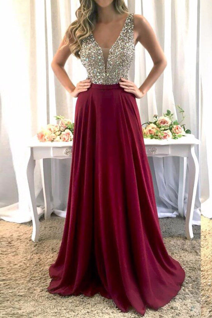 MACloth Straps V Neck Crystals Chiffon Prom Dress Burgundy Formal Evening Gown
