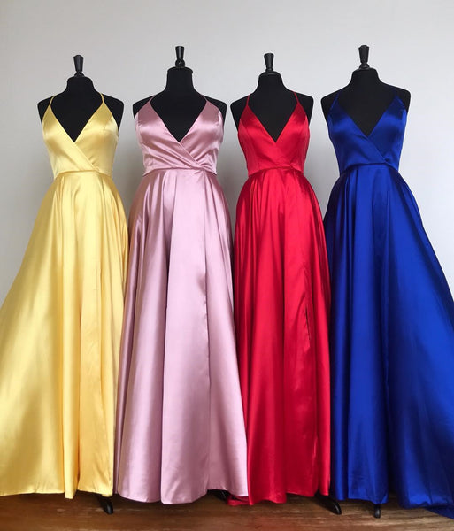 MACloth Halter V Neck Satin Long Prom Dress Royal Blue / Yellow Formal Evening Gown