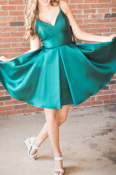 MACloth Straps V Neck Satin Mini Prom Homecoming Dress Dark Green Cocktail Party Dress