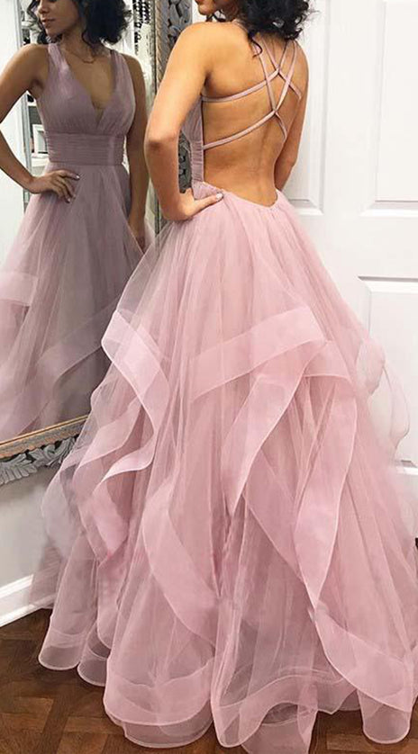 MACloth Straps V Neck Tulle Long Prom Dress Dusty Pink Formal Evening Gown