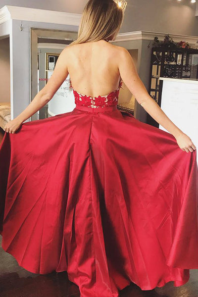MACloth Halter V Neck Lace Satin Long Prom Dress Red Formal Evening Gown