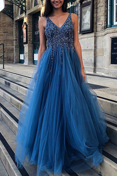 MACloth Straps V Neck with Beaded Long Prom Dress Dark Navy Formal Evening Gown