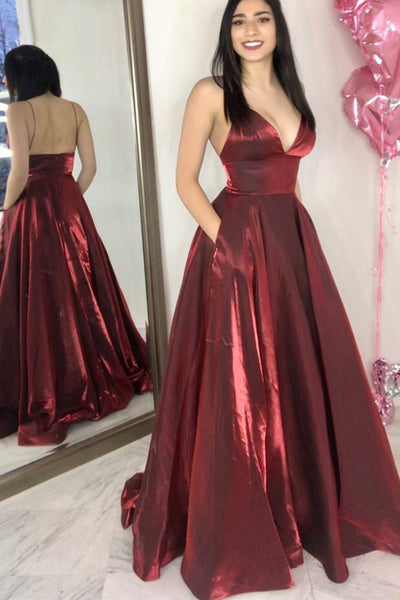 MACloth Spaghetti Straps V Neck Long Prom Dress Burgundy Formal Evening Gown