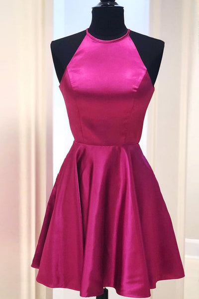 MACloth Halter O Neck Satin Mini Prom Homecoming Dress Red Cocktail Dress