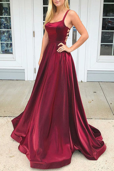 MACloth Straps Scoop Neck Satin Long Prom Dress Burgundy Formal Evening Gown