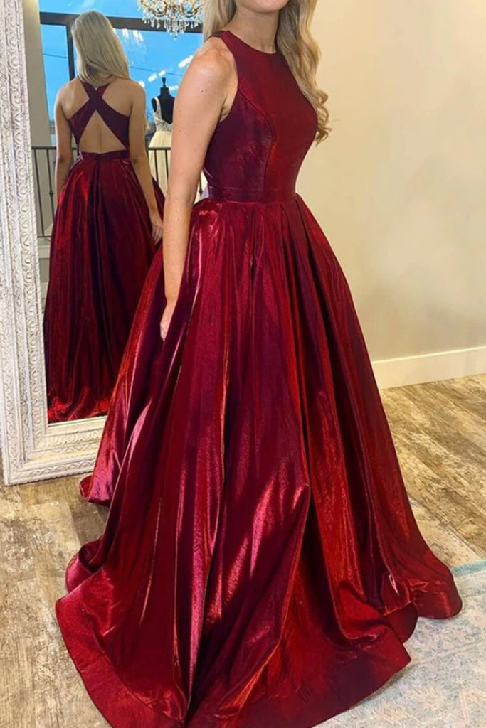 MACloth Halter O Neck Satin Long Prom Dress with Cross Back Burgundy Formal Evening Gown