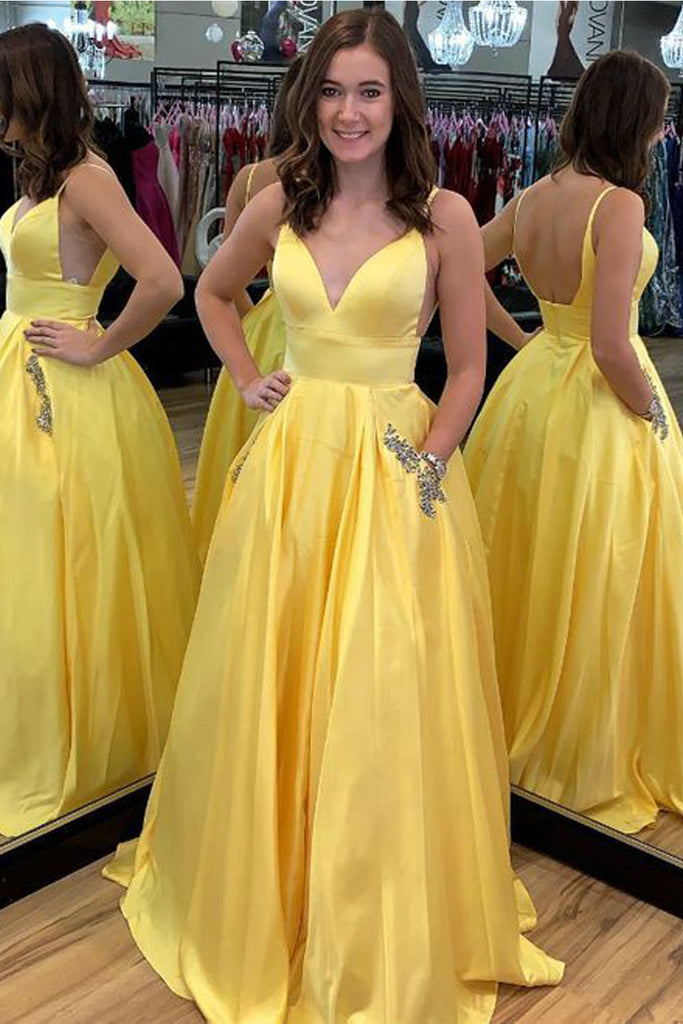 MACloth Straps V Neck Ball Gown Prom Dress with Pocket Yellow Formal Evening Gown