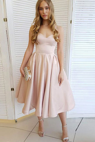 MACloth Strapless Sweetheart Midi Prom Homecoming Dress Pale Pink Wedding Party Dress