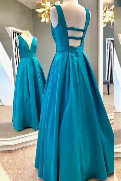 MACloth Straps V Neck Satin Hot Pink Prom Dress Blue Formal Evening Gown