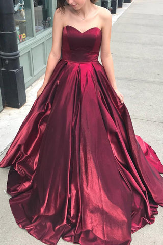 MACloth Strapless Sweetheart Ball Gown Prom Dress Burgundy Formal Evening Gown