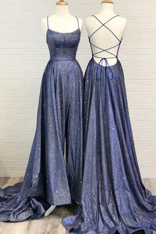 MACloth Spaghetti Straps Scoop Neck Long Prom Dress Navy Formal Evening Gown