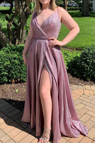 MACloth Straps V Neck Long Prom Dress Fuchsia Silver Formal Evening Gown with Slit