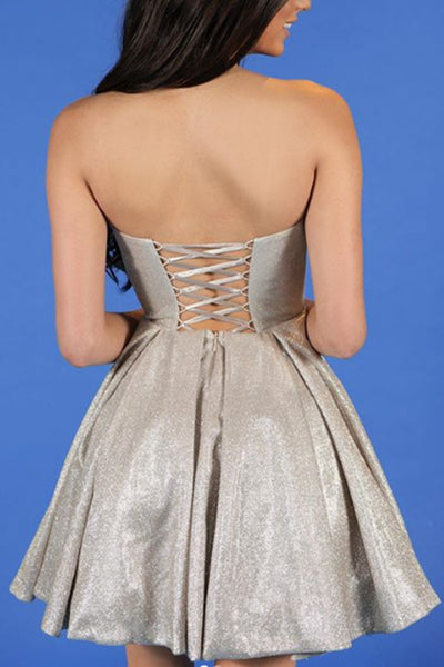 MACloth Strapless Mini Prom Homecoming Dress Red Silver Cocktail Party Dress